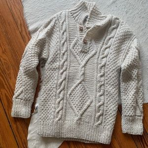 Vintage handknit ivory fisherman sweater